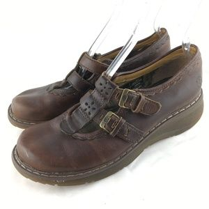 Mary jane buckle shoes brown leather scalloped 10